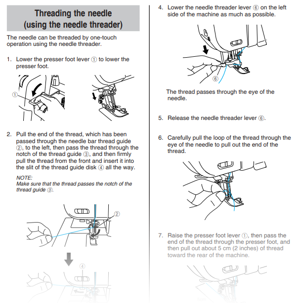Needle threader instruction page from brother 4234d manual