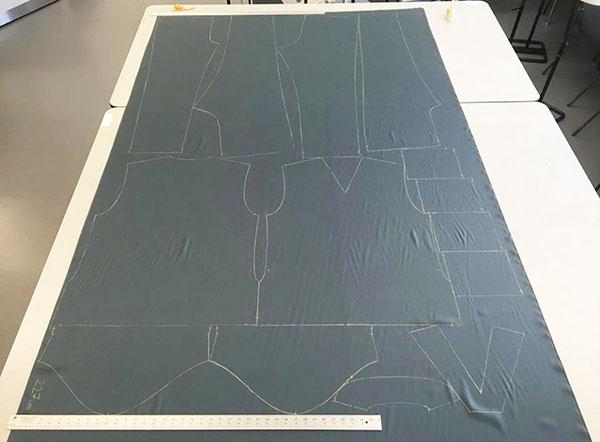 Scrubs sewing pattern drawn onto fabric