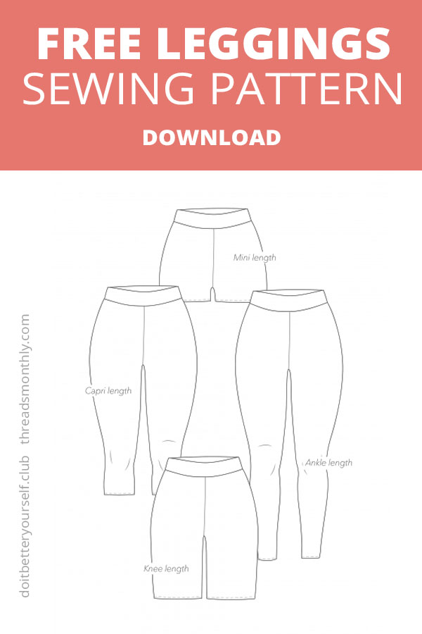 free leggings sewing pattern for women. line drawing by DIBY do it better yourself club.