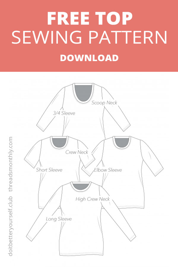free t-shirt sewing pattern by DIBY Do It Better Yourself Club. knit top line drawing.