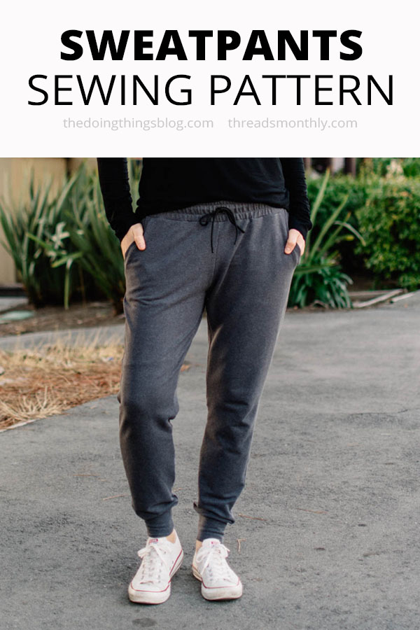 jersey sweatpants or jogging bottoms sewing pattern. hudson pants by true bias.