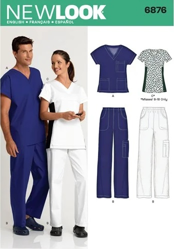 New Look 6876 scrubs sewing pattern UK