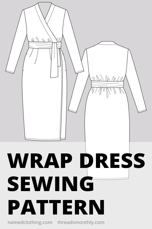 jersey wrap dress sewing pattern line drawing. Called Olivia wrap dress by Named Clothing.