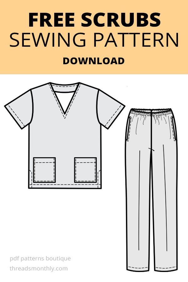 line drawing of mens / unisex scrubs sewing pattern free pdf