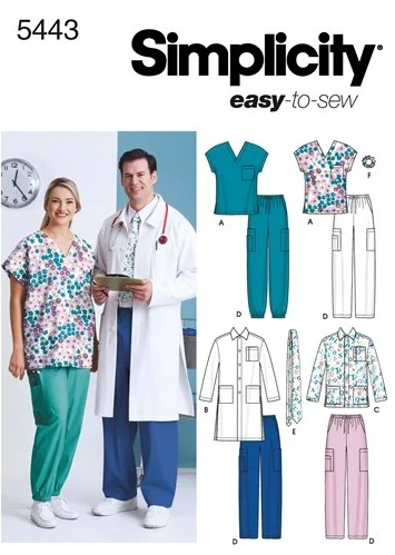 Simplicity 5443 scrubs sewing pattern UK
