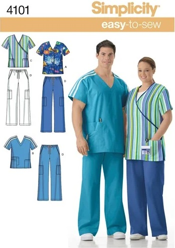 Simplicity 4101 scrubs sewing pattern UK