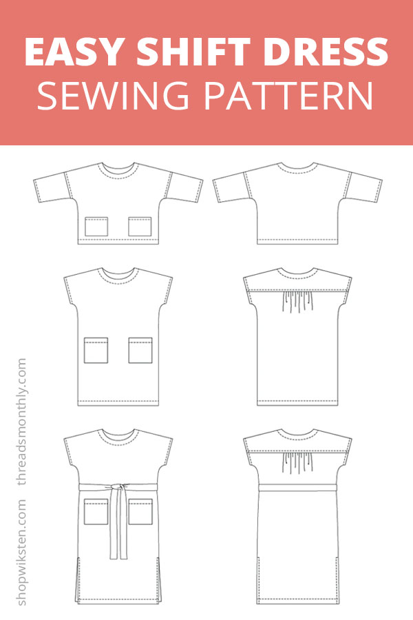 easy shift dress sewing pattern. Wiksten shift line drawings.