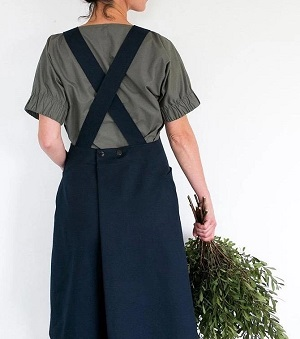 linen apron sewing pattern with criss cross back