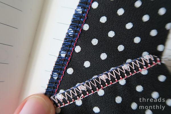 4 thread overlock stitch on polka dot georgette fabric