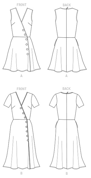 mock wrap dress sewing pattern with short sleeves, fake buttons at front, and a-line skirt.