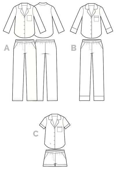 Pajama sewing pattern line drawing. Carolyn pajamas with shorts by Closet Case. The design has a collar, piping, pockets, and elastic waistband.