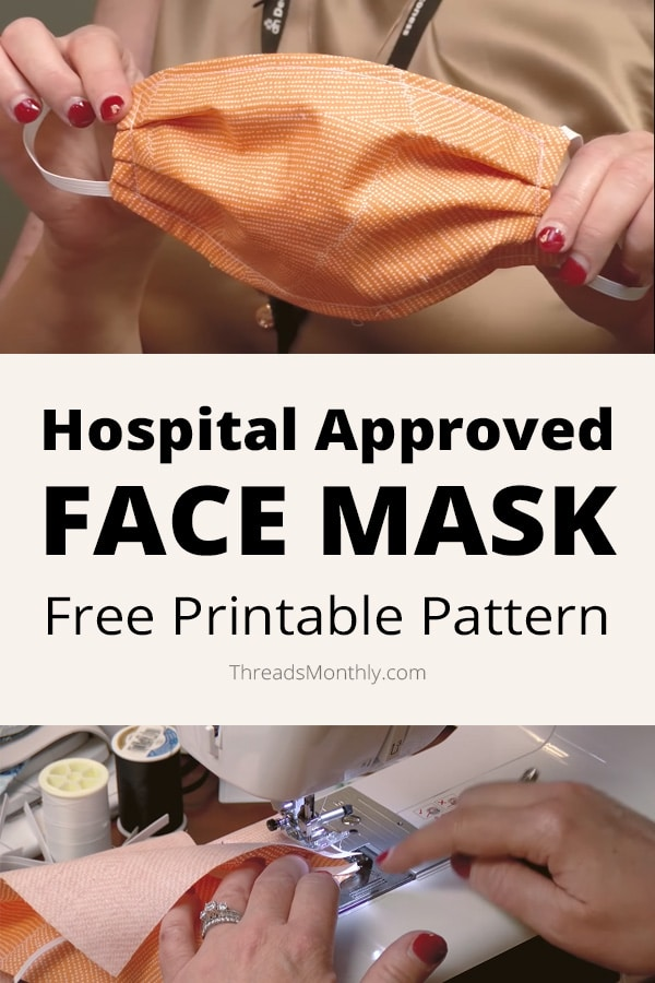 free printable pattern: pleated face mask with elastic ear hooks by deaconess
