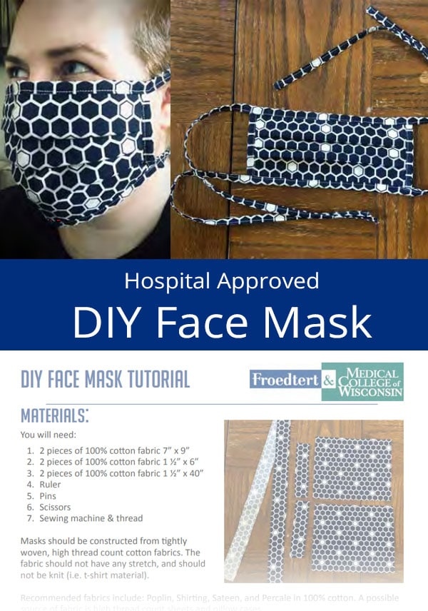 navy pleated surgical-style face mask with ties. By froedtert.