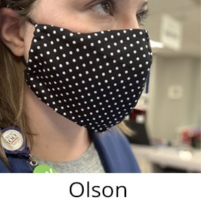 olson face mask worn by nurse