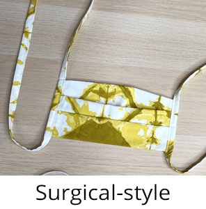 pleated surgical style face mask with ties