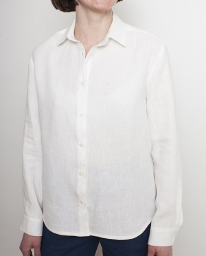free button down shirt sewing pattern for women. It's made using white linen