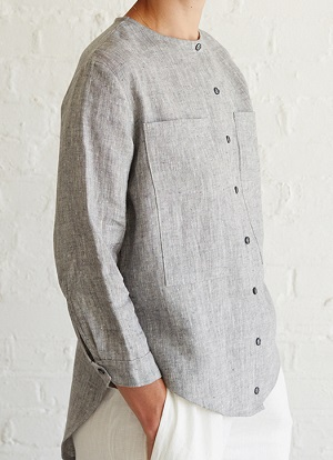 free sewing pattern for linen shirt with buttons and no collar.
