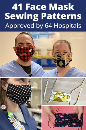 free face mask sewing patterns for fitted olson and pleated surgical style masks.