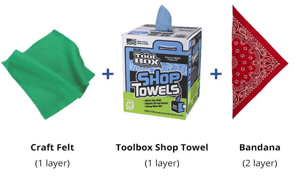 face mask filter materials: craft felt, toolbox shop towel, and a bandana.