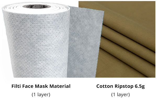 filti face mask filter material and brown cotton ripstop fabric for diy face masks