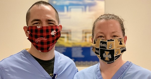 donated fabric face masks worn by hospital employees