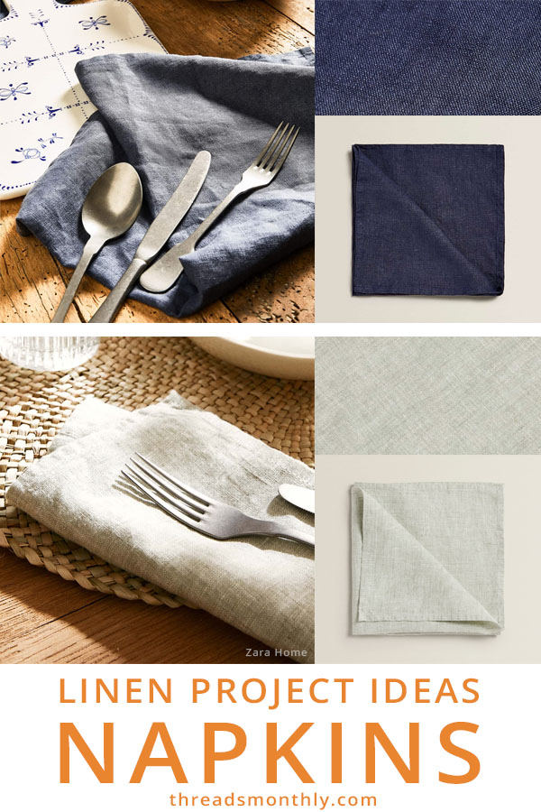 blue and white linen napkins sewing idea