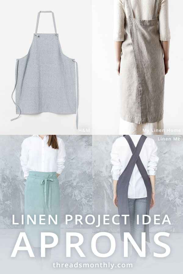 linen sewing project idea: 4 aprons including half apron and cross back style