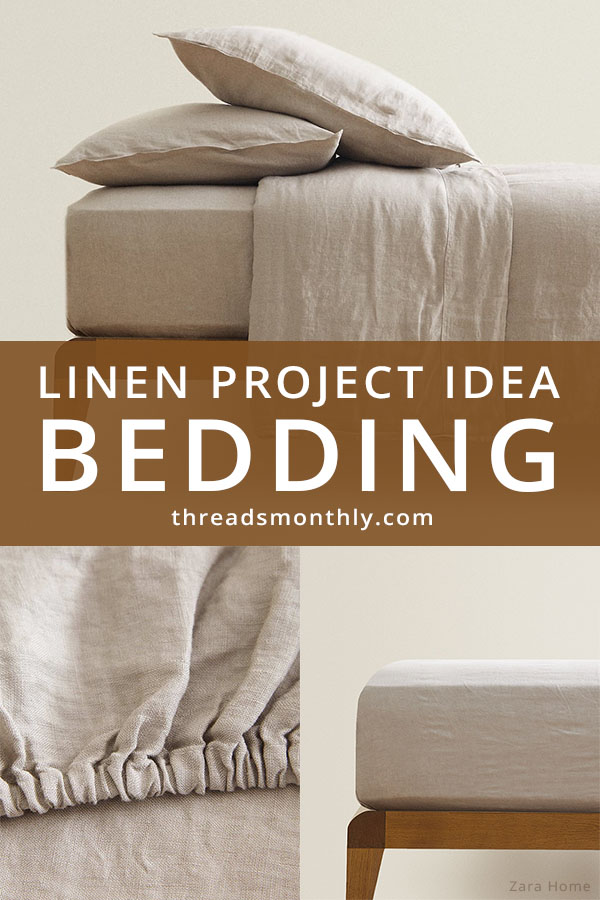 linen sewing project idea: beige duvet cover, fitted sheets and pillows.