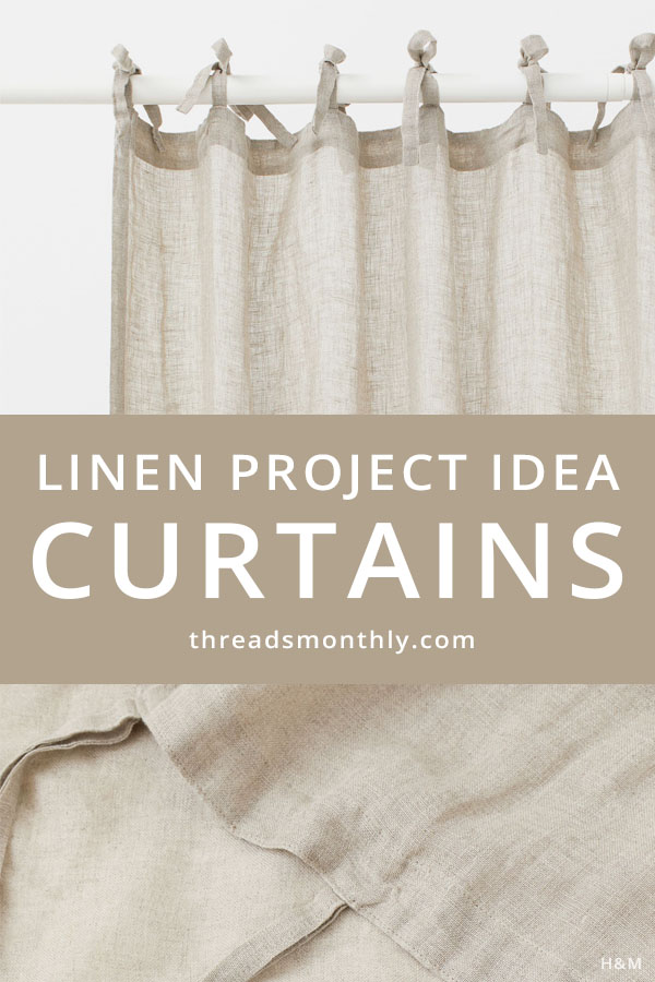 linen sewing project idea: beige curtains with tie tops.