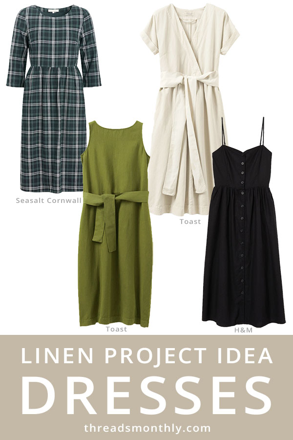 linen sewing project: 4 dresses