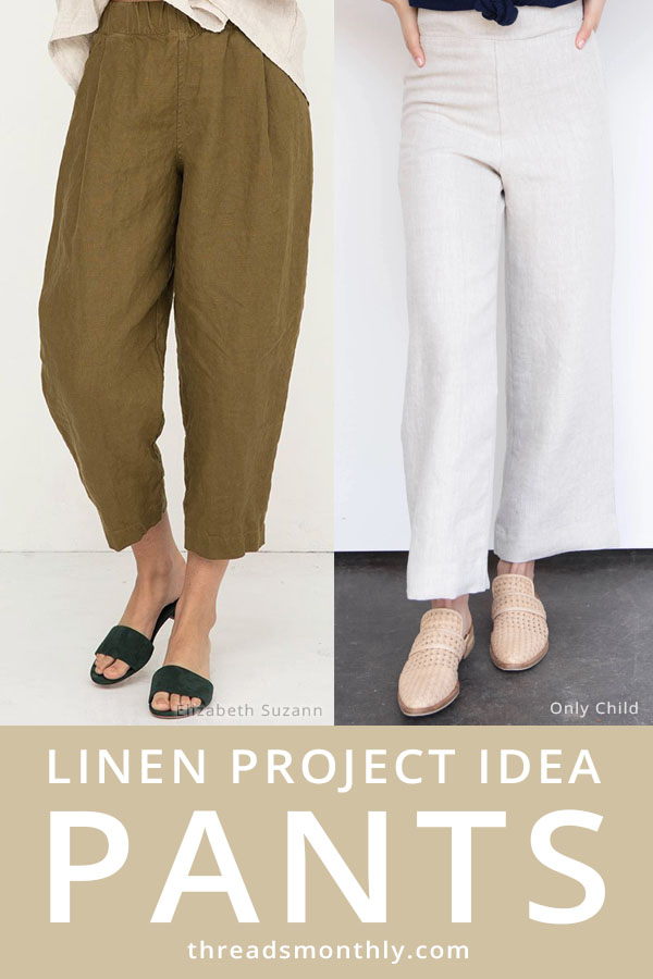 linen sewing project idea: 2 linen pants in white and brown.