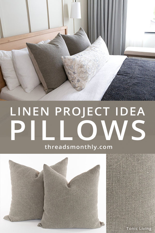 linen sewing project idea: brown pillow or cushion covers on a bed.