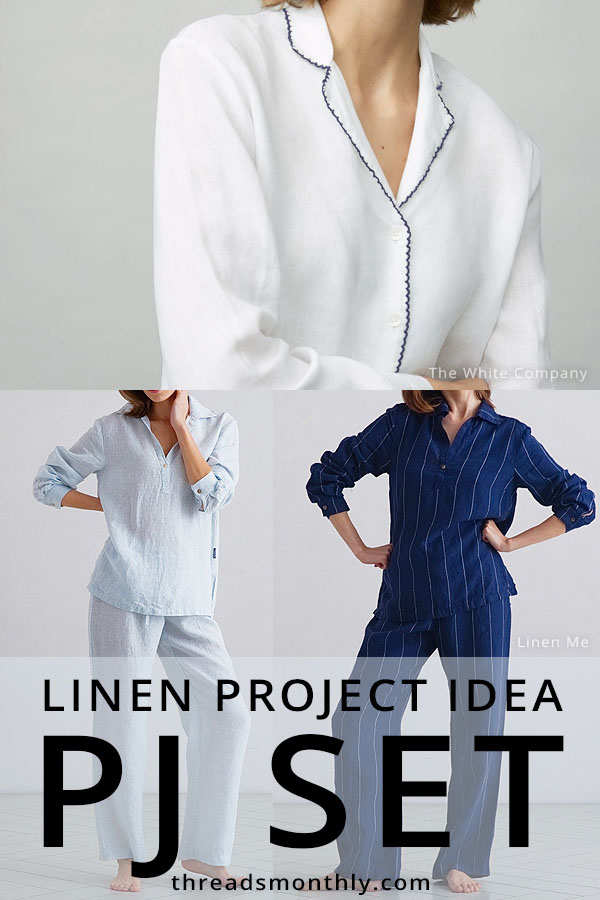 linen sewing project idea: 3 pajamas / pyjamas made from blue and white linen fabric.