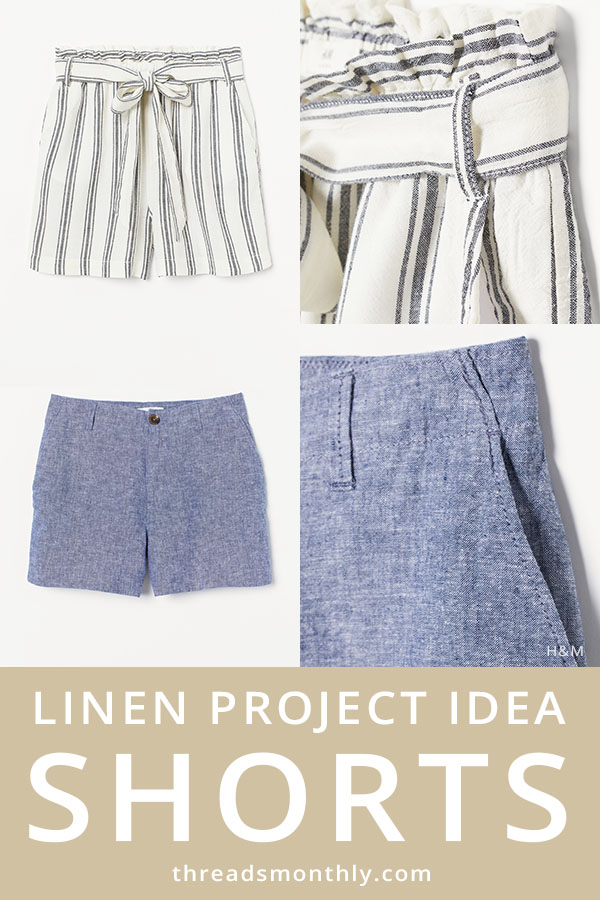 linen sewing project idea: blue and striped shorts with button and paper-bag waist