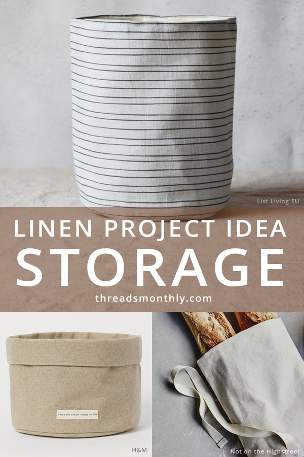 linen sewing project idea: 3 fabric storage bags and bins.