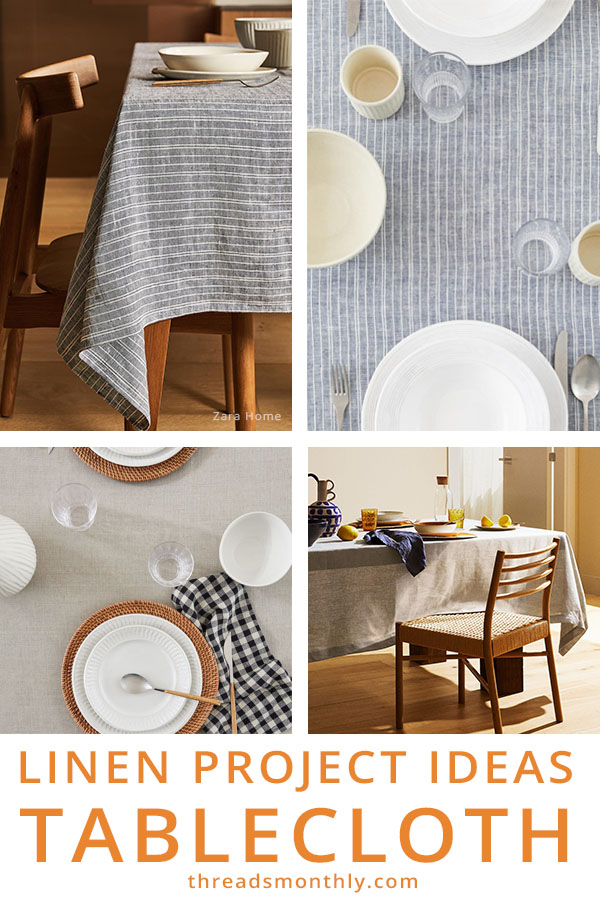 linen sewing project idea: blue and beige tablecloth with dishes on top.