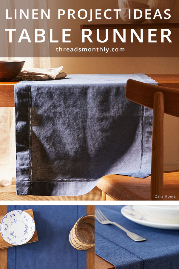 linen sewing projct idea: navy table runner with cutlery on top.