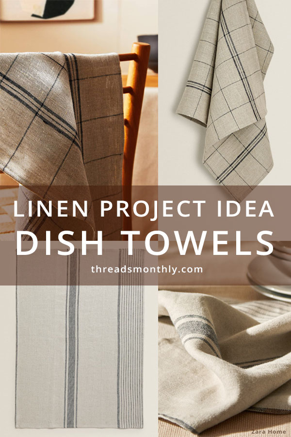 linen sewing project idea: 4 beige dish towels with stripes and checks.