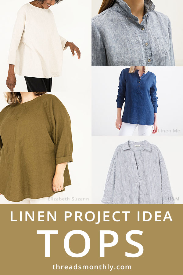 linen sewing project idea: 5 tops in blue, white and brown.