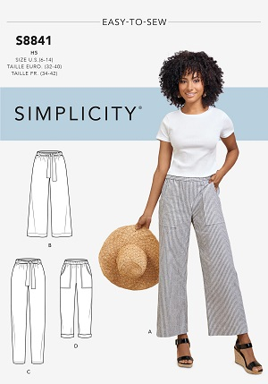 Sewing pattern for wide leg, elastic waistband pants. It's Simplicity S8841.