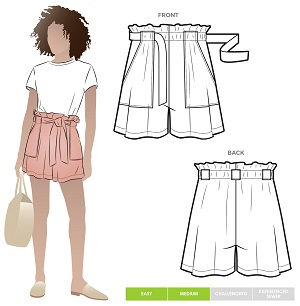 paper-bag waist shorts sewing pattern for women with pockets.