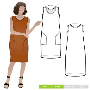 simple shift dress sewing pattern with angled pockets