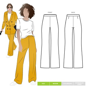 Wide leg pants with side zip sewing pattern. The McKenzie pants by Style Arc.