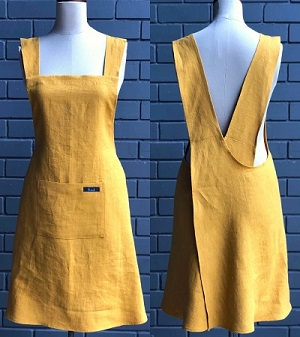 free linen sewing pattern: yellow criss cross back apron