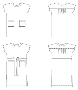 line drawings of an easy shift dress sewing pattern