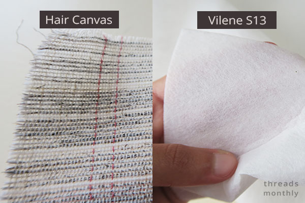 Types of sew-in interfacing: heavy weight hair canvas and vilene s13