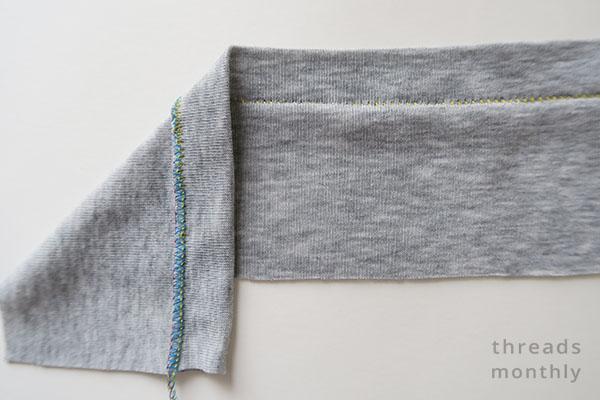 serger blind hem on stretchy grey fabric