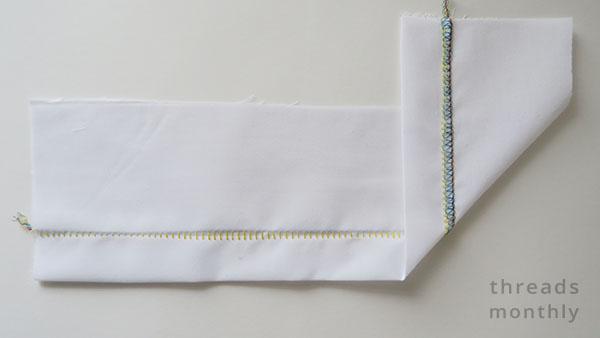 blind hem stitch on white cotton fabric