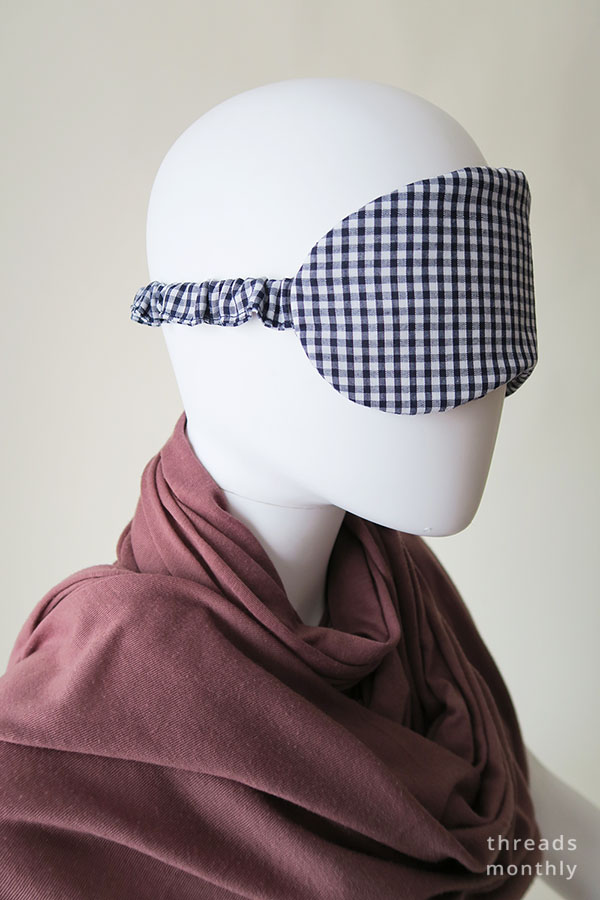 side view of sleep mask on mannequin