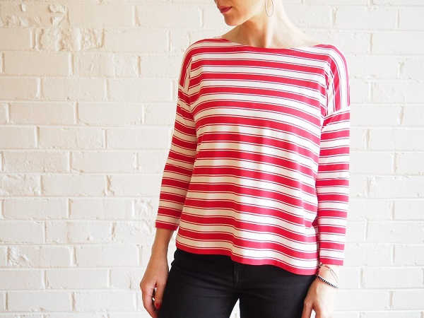free womens top sewing pattern. mandy boat tee by tessuti. red striped jersey fabric.